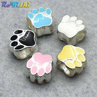 500pcs/pack Single Horizontal Hole Metal Foot Print Beads for Bracelet Hole Size:6mm