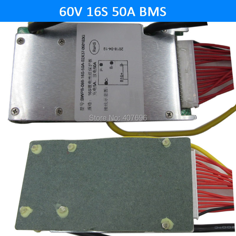 3.6V/3.7V cell 16S 60V 50A BMS Used for 60v 30ah 40ah 50ah battery 50A continuous With balance function free shipping