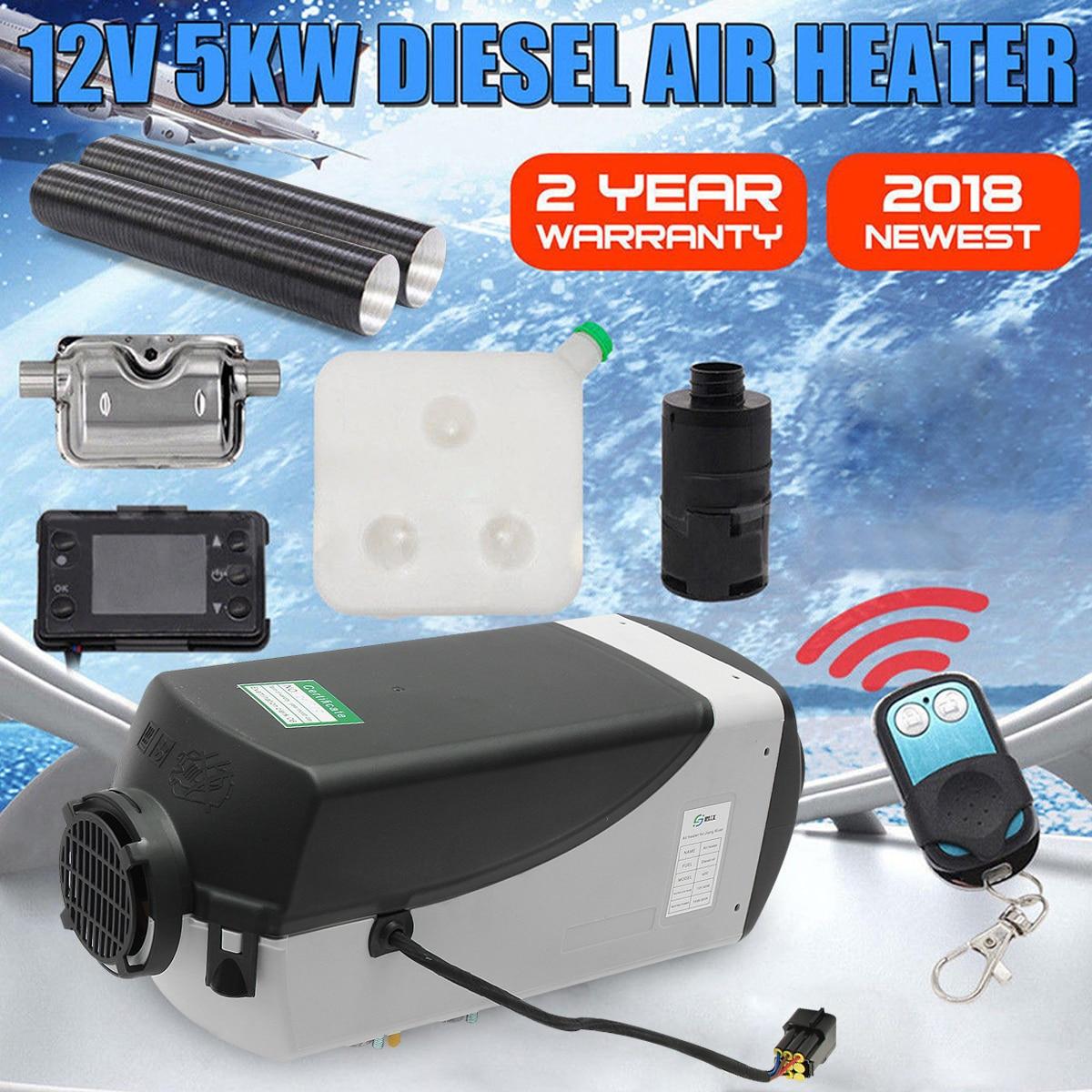 12V 5000W LCD moniteur Air diesels réchauffeur de carburant unique trou 5KW pour bateaux Bus voiture chauffage avec télécommande et silencieux gratuitement - 2