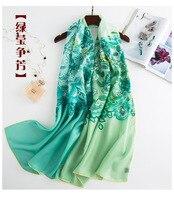 Flowers Pale Ink Herringbone Silk Scarf Bright Green Neck Wear Accessory Scarfs Pashmina Women's Scarves Elegant Wraps ZSCJ27