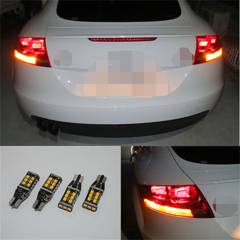 Tcart 4pcs Auto LED Bulbs Error Free T15 2835 15smd Car LED Lights Turn Signals Lamps For Audi TT MK2 8J 2006-2014 Accessories