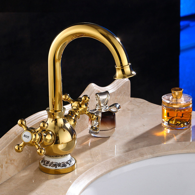 NIENENG Bathroom Faucet Golden Sink Tap Water Brass Antique Style - Gold colored bathroom fixtures
