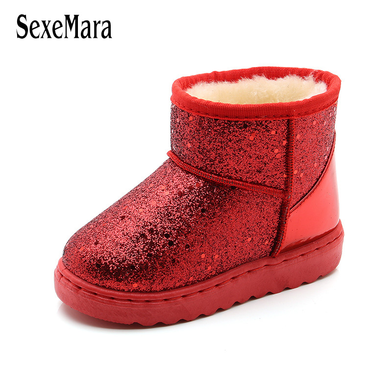 2018 Autumn Winter New Children's Snow Boots Toddler Girl Boots Sequin Teenager Boys Boots Baby Cotton Shoes Winter Bling B10131