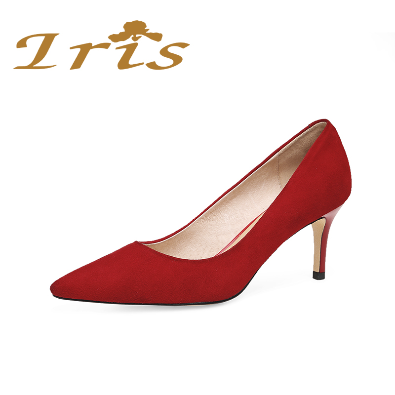IRIS New Women Pumps Small Size Pointed Toe High Heels Wedding Shoes Woman Ladies Dress Red Shoes Party Office Genuine Leather plus size 34 49 new spring summer women wedges shoes pointed toe work shoes women pumps high heels ladies casual dress pumps