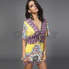Cuerly Boho Summer Women Dress Sexy Loose Sundresses Deep V Neck Dashiki Print Tunic Beach Dresses Big Size Woman SunDress Robe