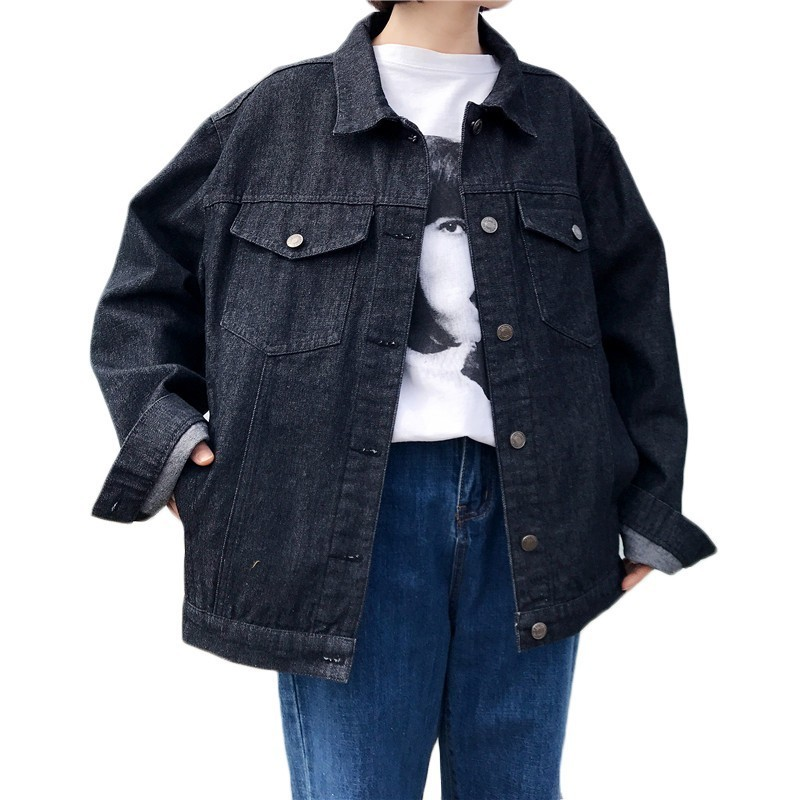 New Spring Autumn Denim   Jacket   Women Vintage Fashion Jeans Coat Ladies   Jackets   Tops Womens Loose Casual Black   Basic     Jackets   F662
