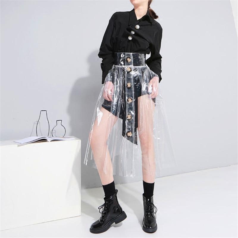 2018 Transparent Cristal En Plastique PVC En Plastique Vent Haute Taille Single-breasted Jupe Jupe Femme Jupes Femmes Faldas Mujer Moda