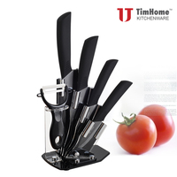 Original Timhome Ceramic Kitchen Knife Sets Black Blade With ABS TPR Black Handle New Arrivals