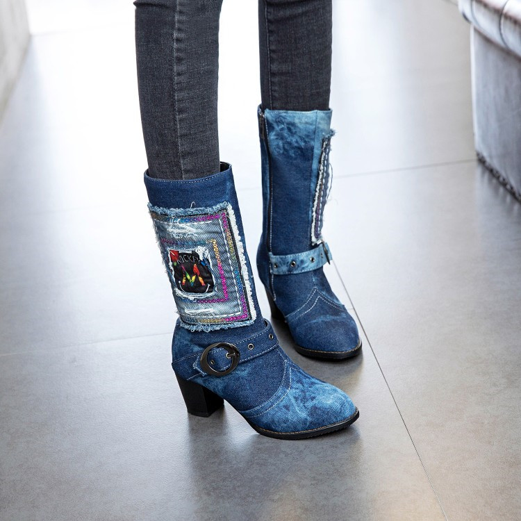 PXELENA Retro Blue Denim Mid Calf Boots Women Graffiti Buckle Square High Heels  Short Boots Lady Shoes 2018 Winter Newest 34 43-in Mid-Calf Boots from Shoes  ... b036e42ebf54