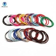 Настоящий плетеный кожаный браслет, мужской браслет для женщин, ювелирные изделия, многослойные кожаные застежки, браслет с подвесками, 17 цветов