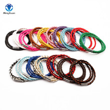 100% Genuine Braided Leather Bracelet Men Bracelet for Women Jewelry Multilayer Leather Clasps Charm Bracelet 17colors