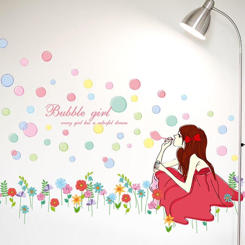 Aliexpresscom  Buy Pretty Girl Blowing Bubbles Removable Wall - Vinyl vinyl wall decals bubbles