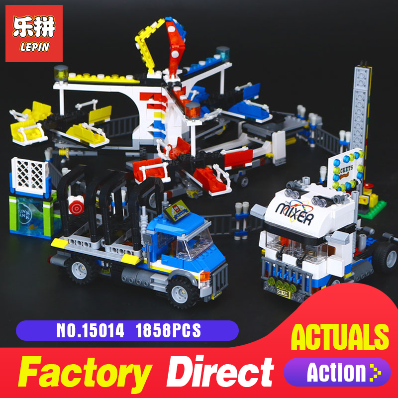 1858Pcs Lepin 15014 Genuine Street Series The Amusement Park Giant Stride Carnival Set Building Blocks Bricks Toy model 10244