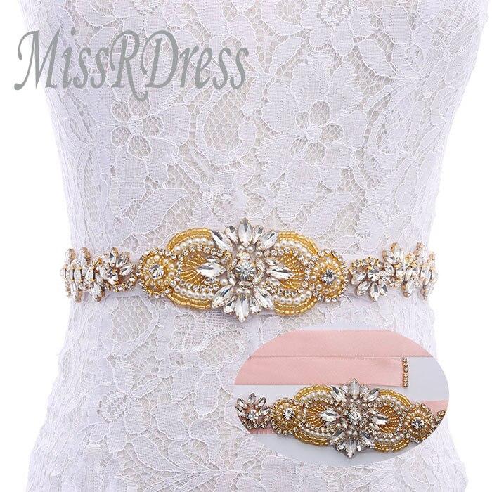 MissRDress Feminine Bridal Dress Belt Gold Crystal Rhinestones Ribbon Beads Wedding Belt For Wedding Event Dress YS833