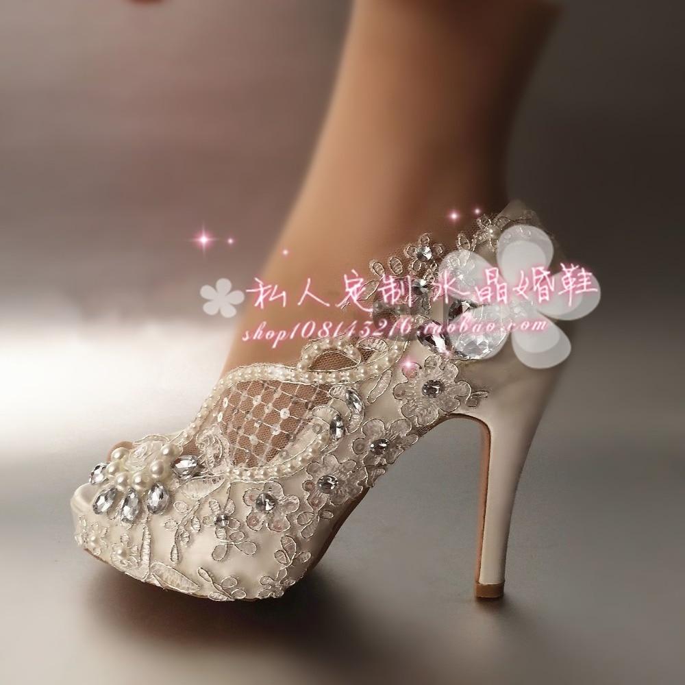 ФОТО Women Pumps Shoes Open toe lace wedding shoes pearl rhinestone bride dress ultra high heels crystal silks satins female