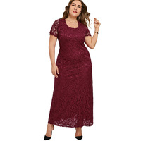 LANGSTAR Elegant O Neck Party Lace Dress Women Plus Size 5XL 6XL 7XL Short Sleeves Vintage