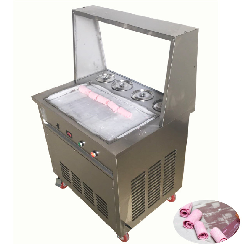 Commercial Big Square Pan Yogurt Ice Rolls Making Machine Thailand Fried Ice Cream Maker With Four BarrelCommercial Big Square Pan Yogurt Ice Rolls Making Machine Thailand Fried Ice Cream Maker With Four Barrel