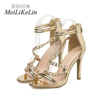 Meilikelin new women's High heeled shoes Party shoes Heels Zipper Concise Sandals Narrow Band Chains woman shoes Gold US5 9