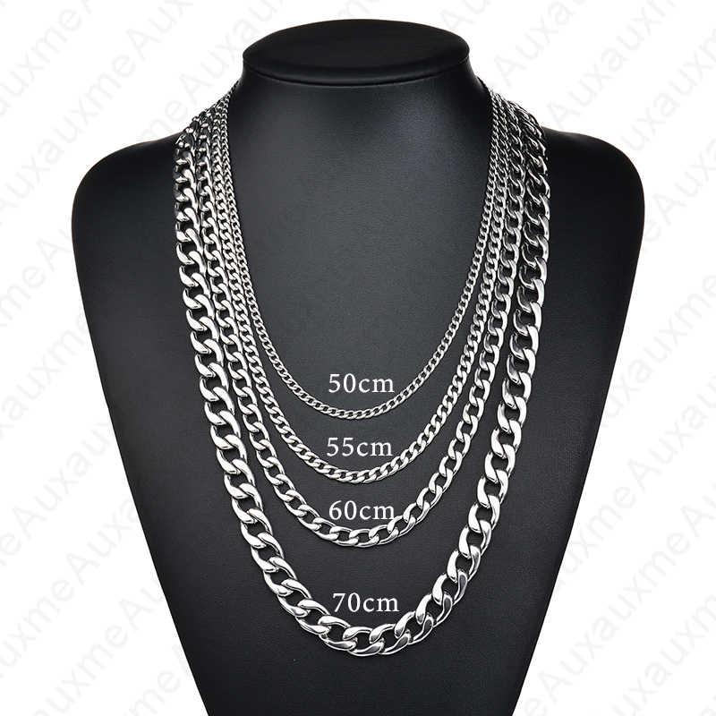 وقطعة من الفولاذ المقاوم للصدأ كبح الكوبي قلادة للنساء الرجال 50 سنتيمتر-70 سنتيمتر الموضة سلسلة طويلة قلادة مجوهرات بسيطة بالجملة