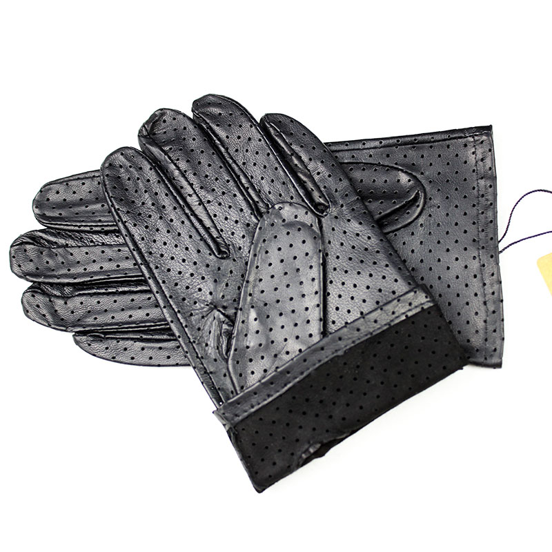 Leather Gloves Men's Thin Imported Goatskin Gloves New Punch Breathable Soft Durable Black Men's Sheepskin Driver Gloves