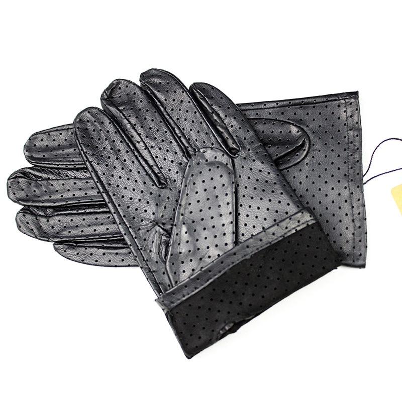 Leather Gloves Men's Thin Imported Goatskin Gloves New Punch Breathable Soft Durable Black Men's Sheepskin Driver Gloves