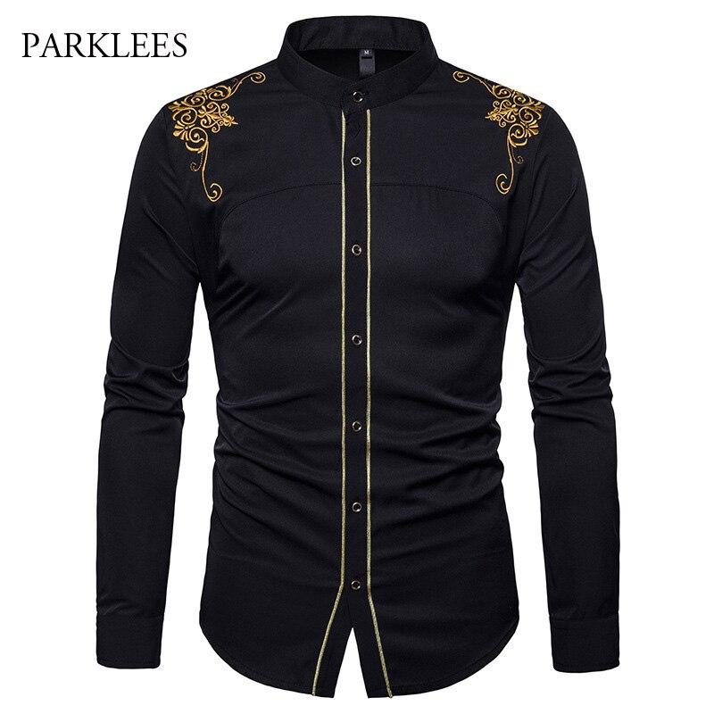 Gold Embroidery Men Chinese Shirt Mandarin Collar For Long Sleeve Dress Luxury Palace Tuxedo Chemise Homme