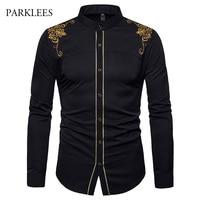 Gold Embroidery Men Chinese Shirt Mandarin Collar Shirt For Men Long Sleeve Men Dress Shirt Luxury Palace Tuxedo Chemise Homme Tuxedo Shirts