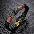Envío de la nueva joyería de moda cuerda trenzada de cuero genuino al por mayor joker hombres pulseras brazaletes regalos de Navidad LPH859