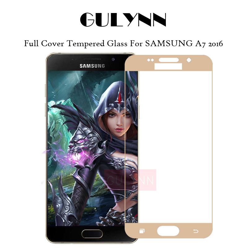GULYNN 9H 2.5D 0.26MM Full Cover Tempered Glass Screen Protector For Samsung Galaxy A7 2016 Premium Protective Glass Film