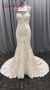 Image 2 - 2020 אופנה חדשה בת ים אפליקציות חתונת שמלה ארוך רכבת ואגלי כלה שמלת robe דה mariee תחרה שרוולים שמלת כלה
