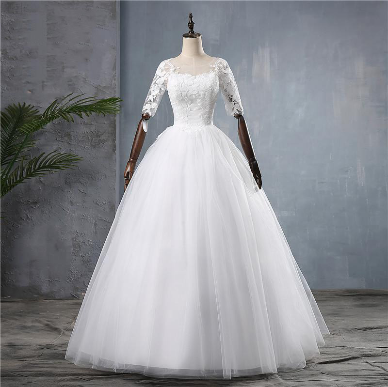 2019 New Illusion Half Sleeve O Neck Wedding Dress Classic Applique Embroidery Floor-length Custom Made Wedding Gown Casamento L