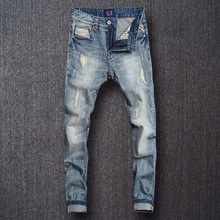 Fashion Streetwear Men Jeans Light Blue Color Destroyed Ripped Jeans homme Slim Fit Denim Pants Brand Designer Hip Hop Jeans Men все цены