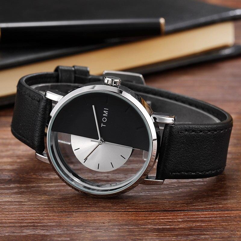 Gift Unique Watch Creative Translucent Unisex Watch For Men Women Geek Stylish Leather Wristwatch Fashion Sport Quartz-watch Top