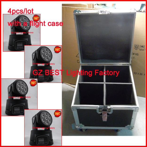 4pcs/lot with flight case for 4 lights led mini moving head wash led rgbw moving head 7x10w with advanced programs 7/12 channels volta flight case for 2 pcs of la 208 top