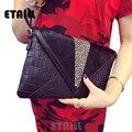 2017 Leopard+Alligator Leather+Black Horsehair Envelope Clutches Evening Bag Fashion Famous Luxury Crocodile Grain Hand Bag