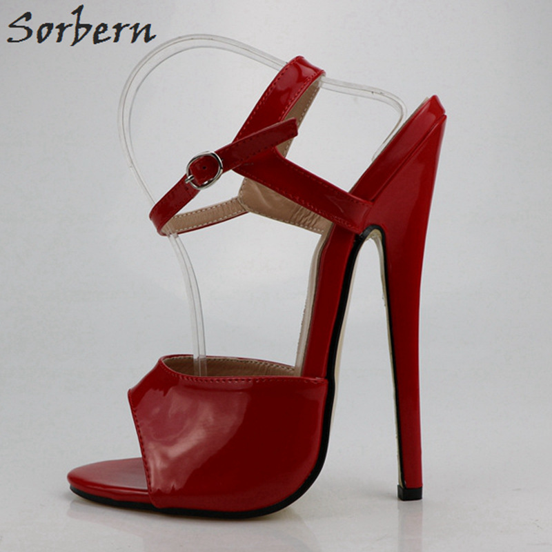 Sorbern Sexy Shiny Super High Heels Sandals For Women Shoes Open Toe Ankle Straps Unisex Gay Dance Party Sandals Summer Custom