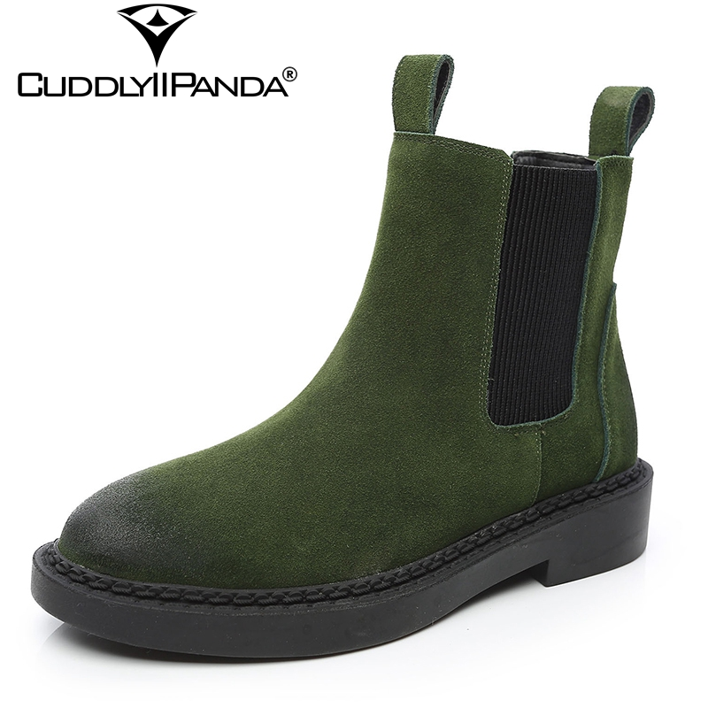 CuddlyIIPanda 2019 Autumn Chelsea Boots Cow Suede Women Ankle Boots High Quality Platform Nubuck Leather Boots Botas Feminina
