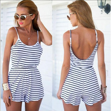 Summer Backless Sexy Women Strap Striped Print Casual Tunic Beach Jumpsuit Romper