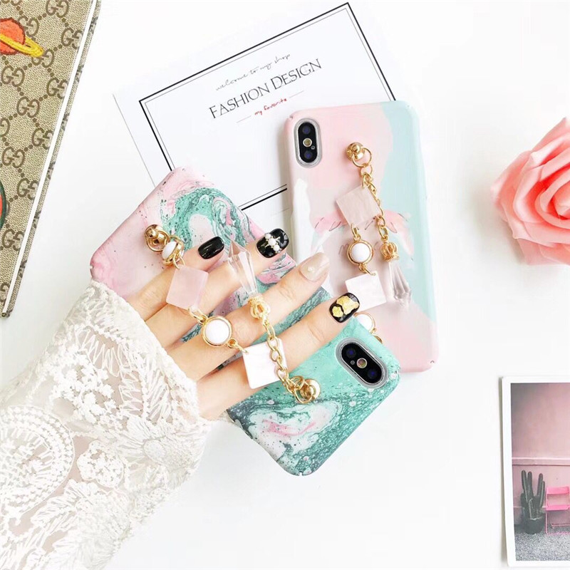 Luxury Marble Print Hard Plastic <font><b>Cell</b></font> <font><b>Phone</b></font> Cases For iPhone X 10 Hot Sell 3D Jewelled Metal Chain Sea Wave Smart <font><b>Phone</b></font> Cases