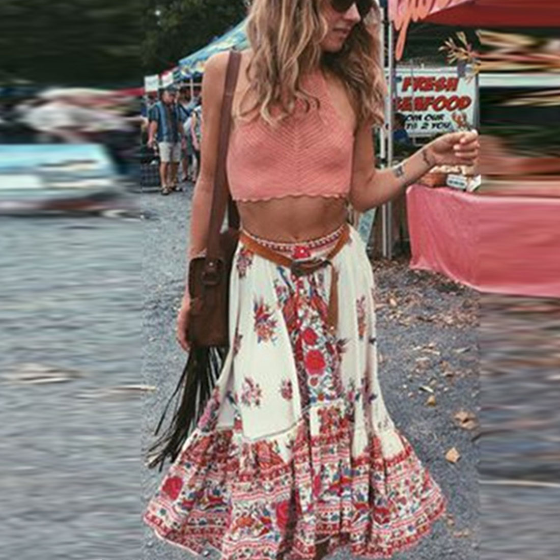 I WantBuy Store New Women Summer Beach Bohemian Sexy Fashion Vintage Floral Printed Irregular Maxi Skirt