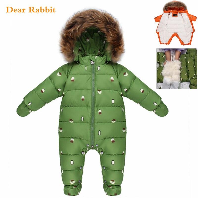 Комбинезон для новорожденных, детская зимняя одежда для малышей, зимний комбинезон, натуральный мех, 90% утиный пух, куртка для девочек, пальт...