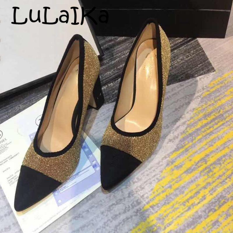 0b8513a6e27 2018 Winter New Brand Black Pointed Toe High Heels 7cm Woman Pumps Shoes  Sexy Shining Diamond Elegant Ladies Party Wedding Shoes-in Women's Pumps  from ...