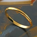 Chinese style top polished mirror bangle 24k gold filled gold woman wedding bracelet width can choose