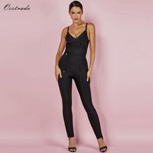 Ocstrade Rayon Bandage Jumpsuit 2019 New Bodycon Summer Sexy Waist Cinching Sleeveless Black