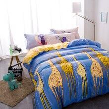 Стеганые покрывала постельное белье одеяло наволочка синий и желтый жираф постельные принадлежности хлопок housse де couette стежка