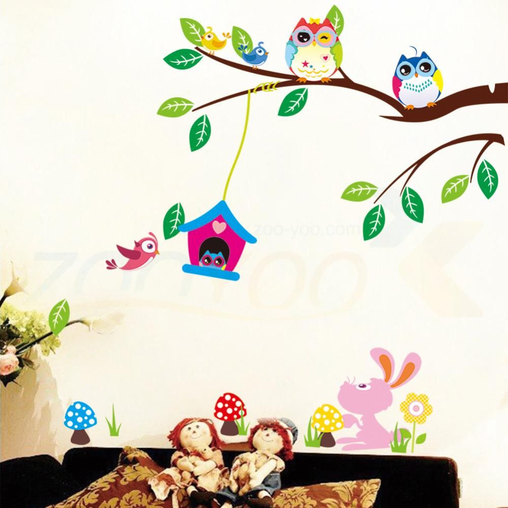 popular tree wall sticker buy cheap tree wall sticker lots from cute owls playing on trees wall stickers home decoration for kids rooms zooyoo1017 removable pvc wall