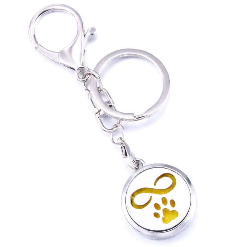 בעלי החיים Paw הדפסת אופנה בושם ארומה תליון Keychain נירוסטה ארומתרפיה חיוני שמן מפזר תיבת Keyring תכשיטים