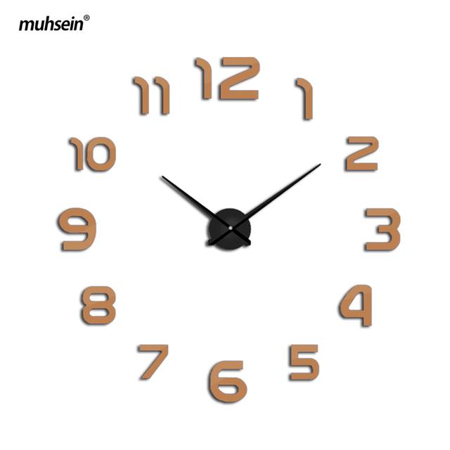 2017 muhsein  Factory New Metal  Modern 3D DIY Wall Clock Acrylic EVA Metal Mirror home decoration Weeding Gift  Free Shipping