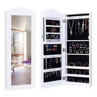 Goplus Wall Mounted Mirrored Jewelry Cabinet Armoire Storage Organizer Modern Wood White Home Decor Furniture HW54414