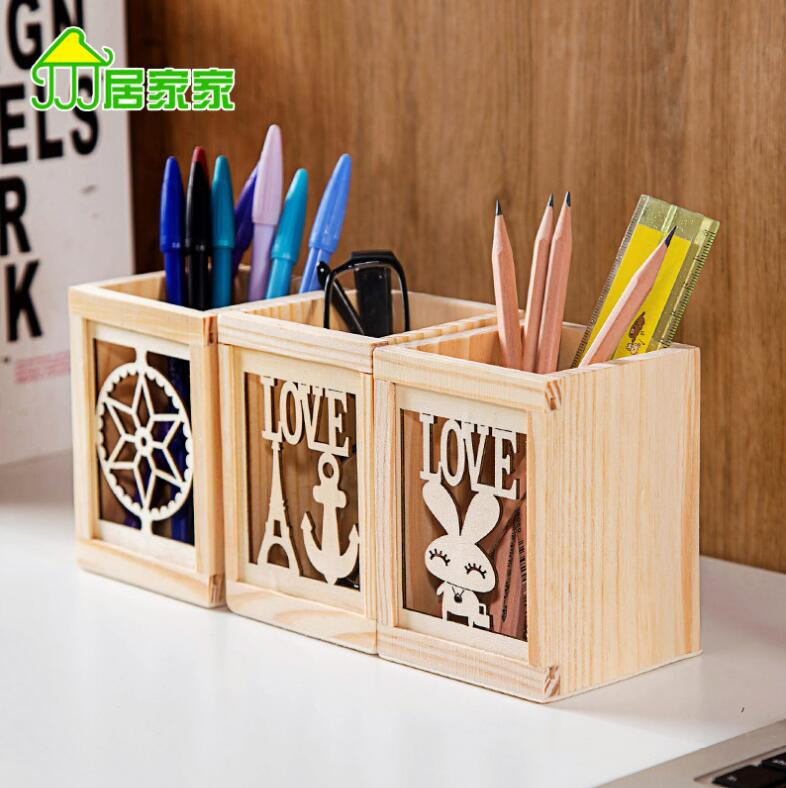 Pen Holders Creative Wooden Elephant Pencil Holder Cute Kawaii Whale Pen Stands Mobile Phone Holder Desk Organizer Office School Supplies Vivid And Great In Style